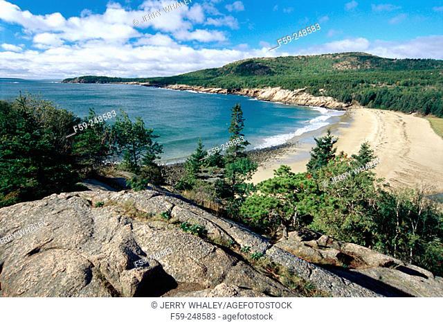 Sand Beach viewed from Great Head, Acadia National Park. Maine. USA