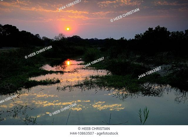 Sand River, Ulusaba Sir Richard Branson's Private Game Reserve, Sabi Sands Game Reserve, Mpumalanga, South Africa, sunset, twilight, dusk, landscape, scenery