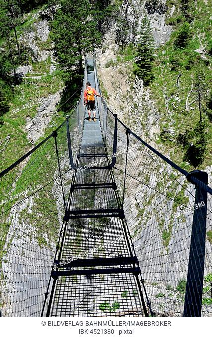 Suspension bridge over the Sulzleklamm, Karwendel Mountains, Mittenwald, Werdenfelser Land, Upper Bavaria, Bavaria, Germany