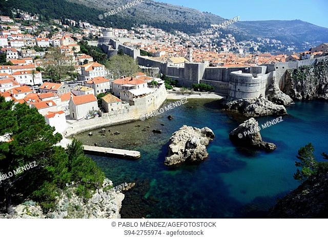 Overview of the walls of Dubrovnik, Croatia