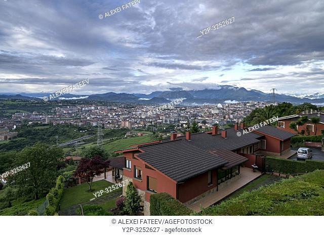 Panoramic view of Oviedo, Asturias, Spain