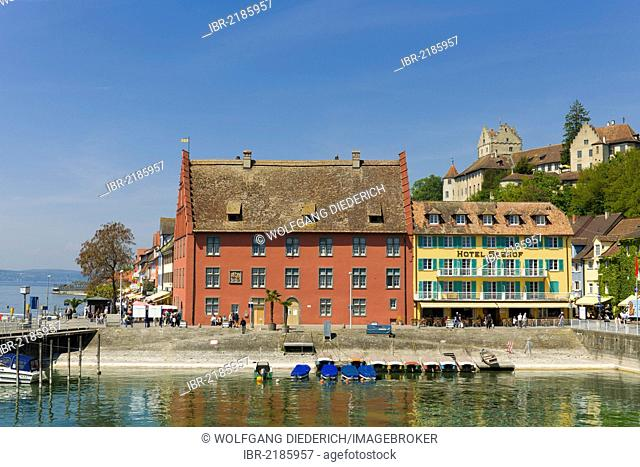 Grethaus building and Seehof Hotel, lakeside promenade, Unterstadt district, Meersburg, Lake Constance, Baden-Wuerttemberg, southern Germany, Germany, Europe