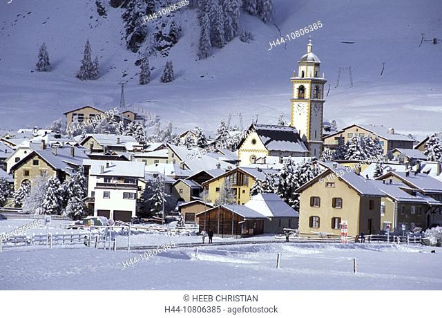 Grisons, Graubunden, Celerina, Engadine, mountains, Upper Engadine, snow, Switzerland, Europe, Alps, village, winter