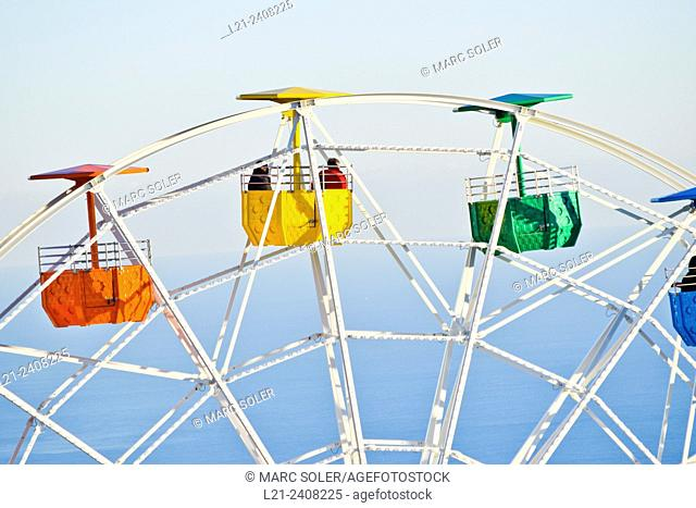 Detail of Ferris wheel. Tibidabo Amusement Park. Barcelona, Catalonia, Spain
