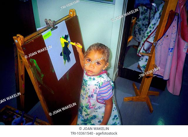 Australia Aboriginal Day Care Nursery Girl Painting