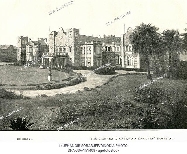 Old vintage 1900s photo of The Maharaja of Gaekwad Officers Hospital, Bombay, Mumbai, Maharashtra, India, Asia