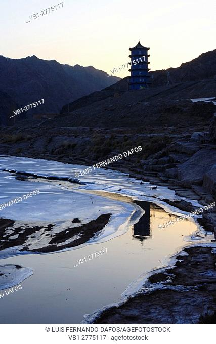 Frozen river passage known as the Hexi Corridor at the western boundary of the Great Wall at Jiayuguan, Gansu province, China, Asia
