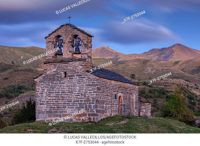 Sant Quirç hermitage. Romanesque chapel. Durro. Boí valley. Lleida province. Catalonia. Spain