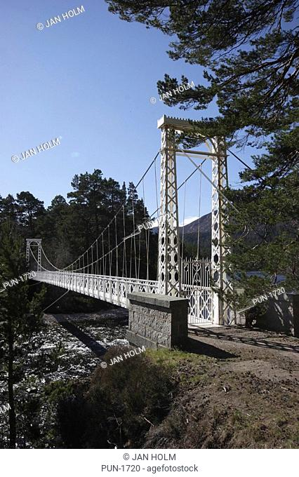 Ballochie suspension bridge over river Dee, built 1924