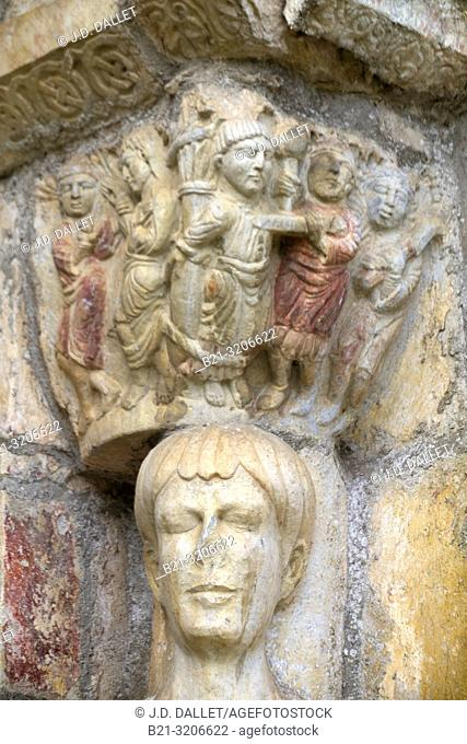 France, Occitanie, Haute Garonne, detail of the tympam of the romanic basilic of Saint Just by Saint Bertrand de Comminges