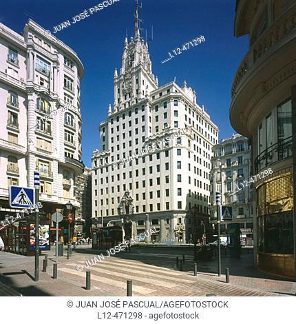 Telefonica phone company building, Gran Via, Madrid, Spain