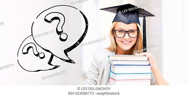 education, school, graduation and people concept - happy student girl or woman in graduation cap with stack of books over question marks