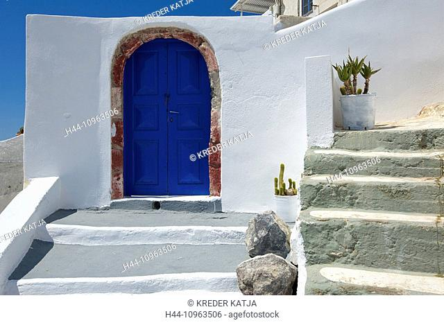 Greece, Europe, Cyclades, island, isle, islands, Greek, outside, Mediterranean Sea, day, nobody, Santorin, Santorini, Firostefani, house, home, building