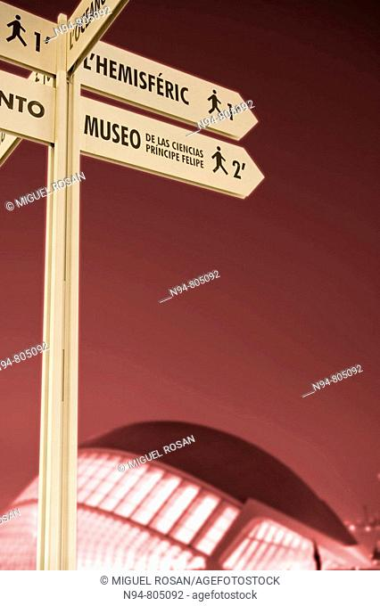 Signpost. City of Arts and Sciences, Valencia, Spain