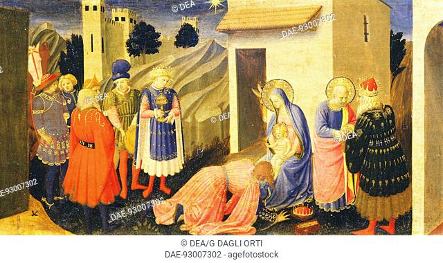 Predella depicting the Adoration of the Magi, detail from the Annunciation of Cortona, ca 1430, by Giovanni da Fiesole known as Fra Angelico (1400-ca 1455)