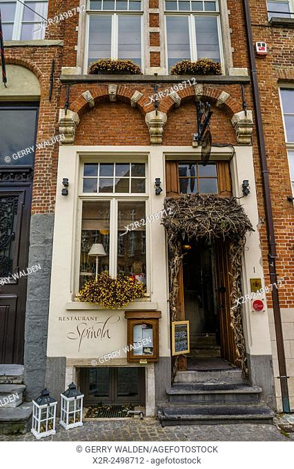 The Restaurant Spinola on Spinolarei in the old town part of Brugge, Belgium