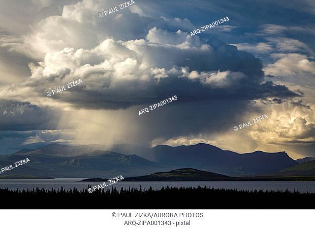 Storm clouds over Lake Kluane In Yukon, Canada