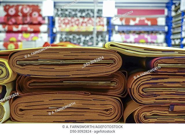Textiles for sale Inside the Marimekko factory store. Helsinki, Finland