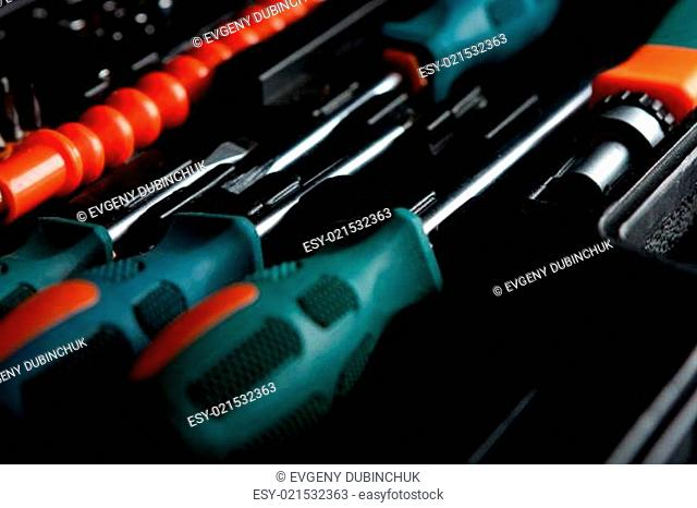 Set of screwdrivers in black box