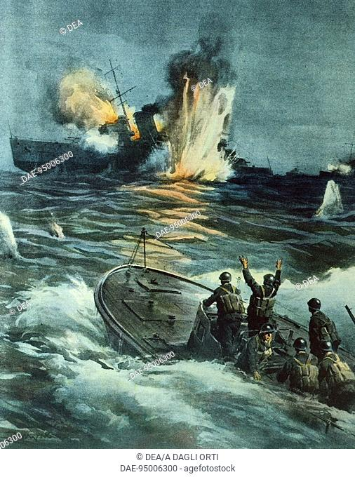 A British cruiser sunk by an Italian MAS, June 1, 194. By Achille Beltrame (1871-1945), illustration from La Domenica del Corriere