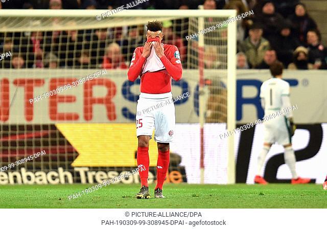 09 March 2019, Rhineland-Palatinate, Mainz: Soccer: Bundesliga, FSV Mainz 05 - Borussia Mönchengladbach, 25th matchday, Opel Arena Mainz
