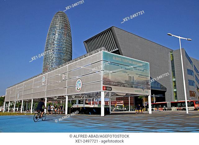 Building DHUB and Torre Agbar in Plaça de les Glories, Barcelona, Catalonia, Spain