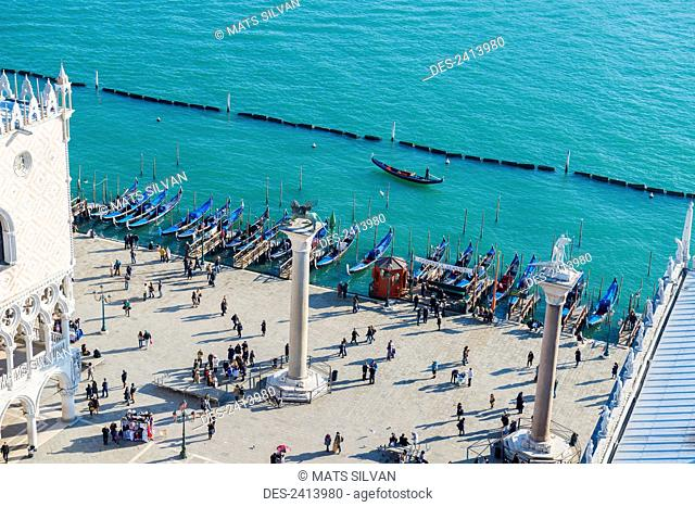 High angle view of people in Piazza san Marco by the water; Venice, Veneto, Italy