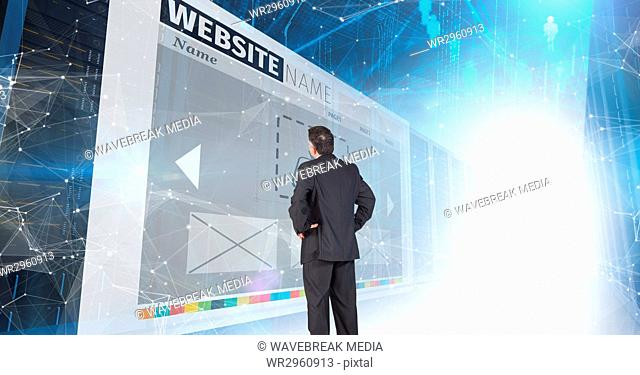 panels with websites corridor. business man looking to one of them