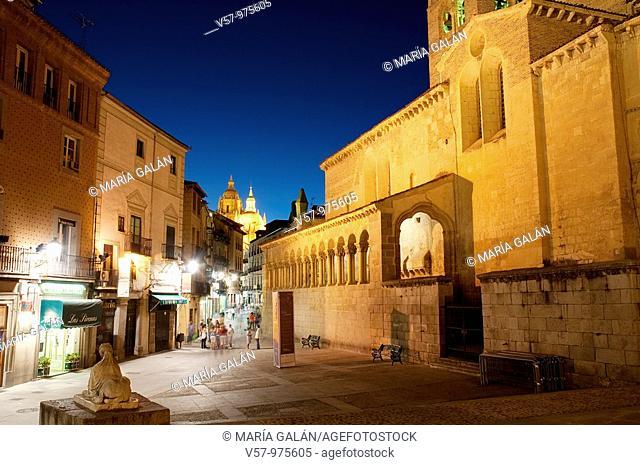 Juan Bravo street and San Martín church, night view. Segovia, Castilla Leon, Spain