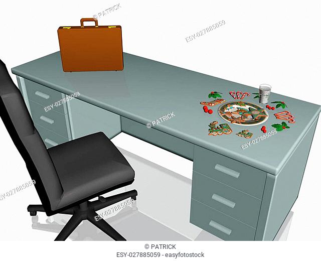 Collection of christmas cookies with glass of milk on an office desk, 3D render illustration