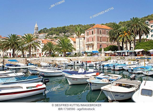 Boats in the harbour of the town of Hvar, Hvar Island, Central Dalmatia, Adriatic Coast, Croatia, Europe