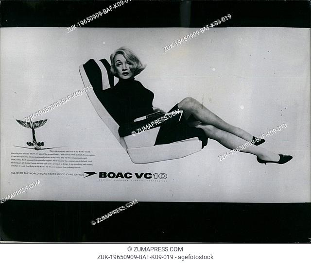 Sep. 09, 1965 - Marlene Dietrich Boosts The VC 10: British Overseas Airways Corporation have booked Marlene Dietrich to boost travel in the VC10 airliner - and...