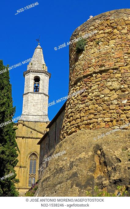Bell tower of cathedral, Pienza, Val d'Orcia, Siena Province, Tuscany, Italy