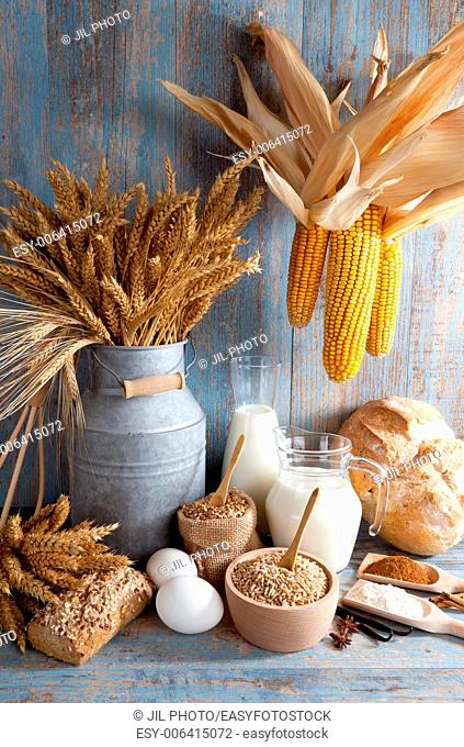 Still life with natural food products