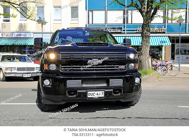 Salo, Finland. May 18, 2019. Black Chevrolet Silverado Z71 backing up onto parking space. Salon Maisema Cruising 2019 featured over 450 vehicles