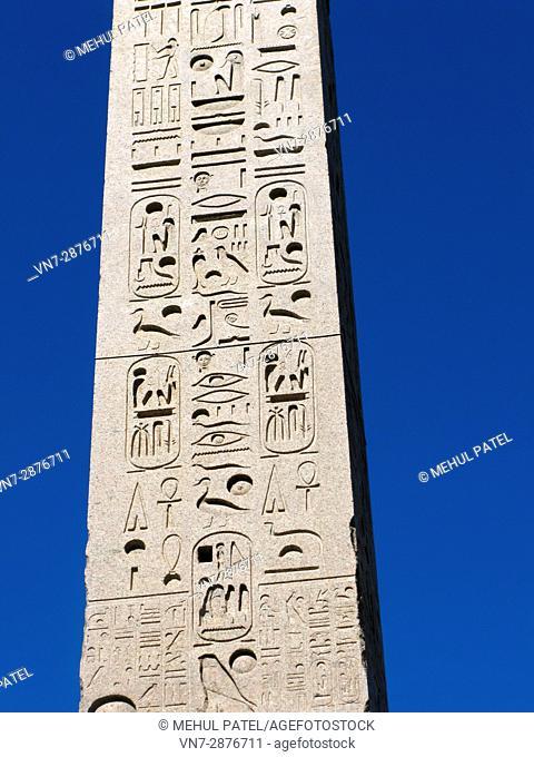 Close-up of the Flaminio Obelisk (Italian: Obelisco Flaminio) located in Piazza del Popolo, Rome, Italy, Europe
