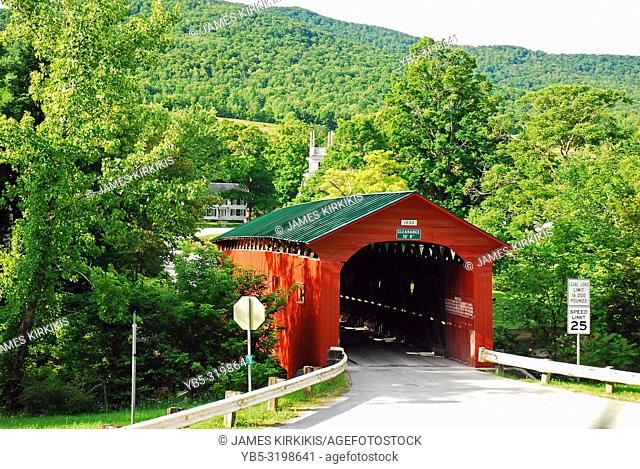A covered bridge in the countryside of Vermont