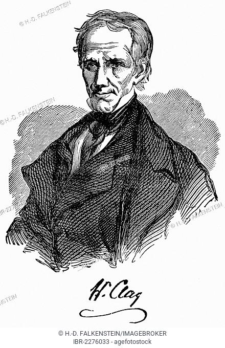 Historical drawing from the U.S. history of the 19th century, portrait of Henry Clay, 1777 - 1852, American politician and Foreign Minister