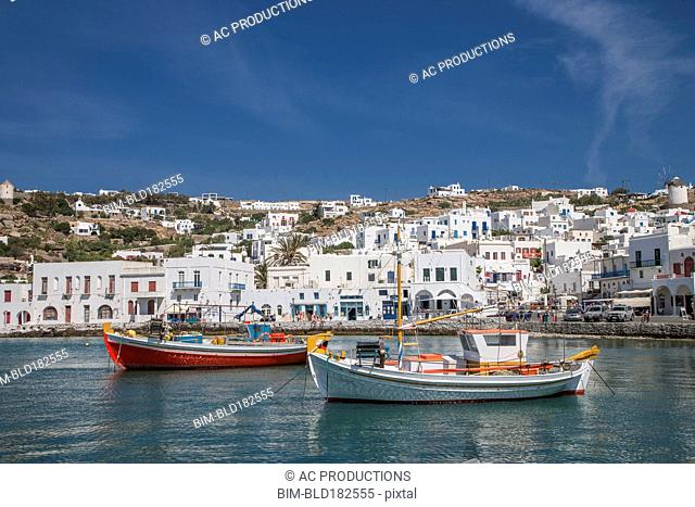 Mykonos waterfront and cityscape, Cyclades, Greece