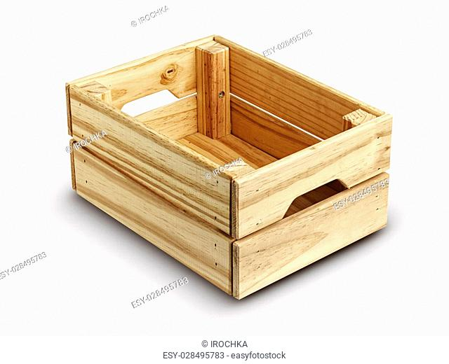 Empty wooden box isolated on white. background .Close up