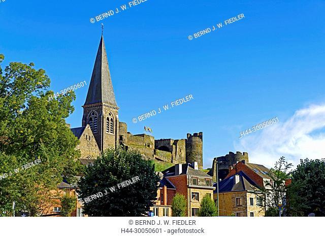 Local view, church, castle, La Smelling Roche-en-Ardenne Belgium