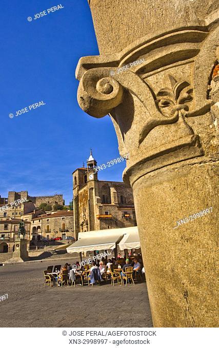 Capitel, On background Iglesia de San Martin church, Equestrian statue of Francisco Pizarro, Plaza Mayor, Main Square, Trujillo, Caceres Province, Extremadura