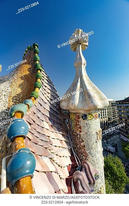 Roof of the Casa Batlló Barcellona Spain