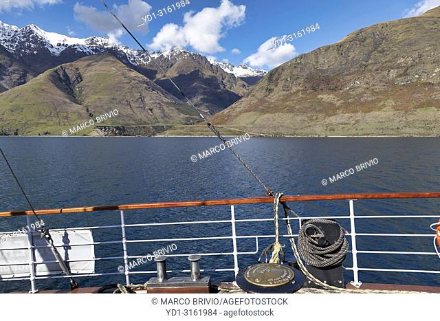 Cruise on Lake Wakatipu Queenstown New Zealand on vintage steamship TSS Earnslaw