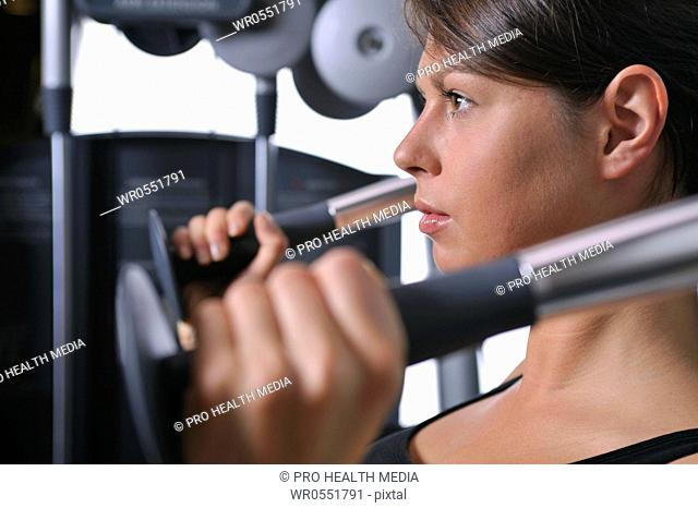 young woman in a fitness center