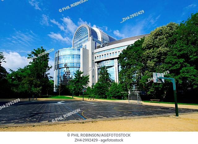 Brussels, Belgium. Basketball court European Parliament Building seen from Parc Leopold