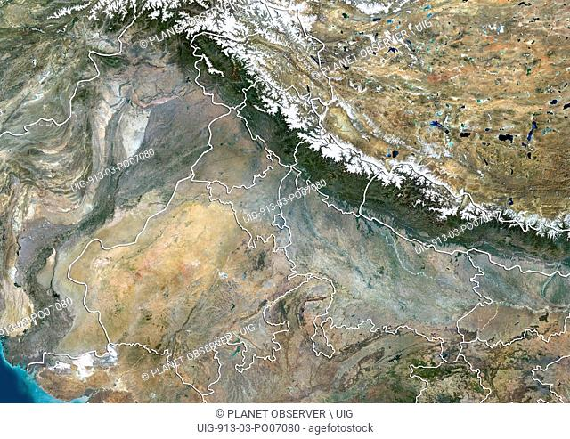Satellite view of North India (with administrative boundaries). This image was compiled from data acquired by Landsat 8 satellite in 2014