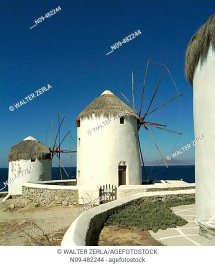 Windmills, Mykonos. Cyclades, Greece