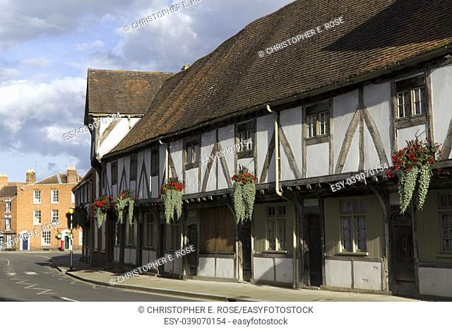 A picturesque corner in the town of Tewkesbury, Gloucestershire, Severn Vale, UK