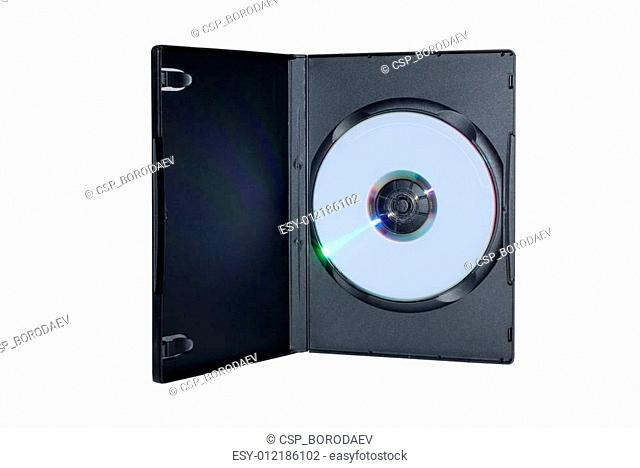 Black box with writable DVD disc inside isolated on white background